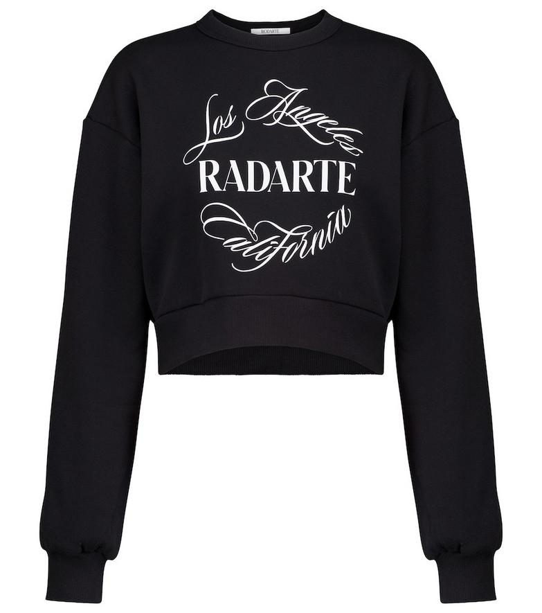 Rodarte Logo cropped cotton-blend sweatshirt in black