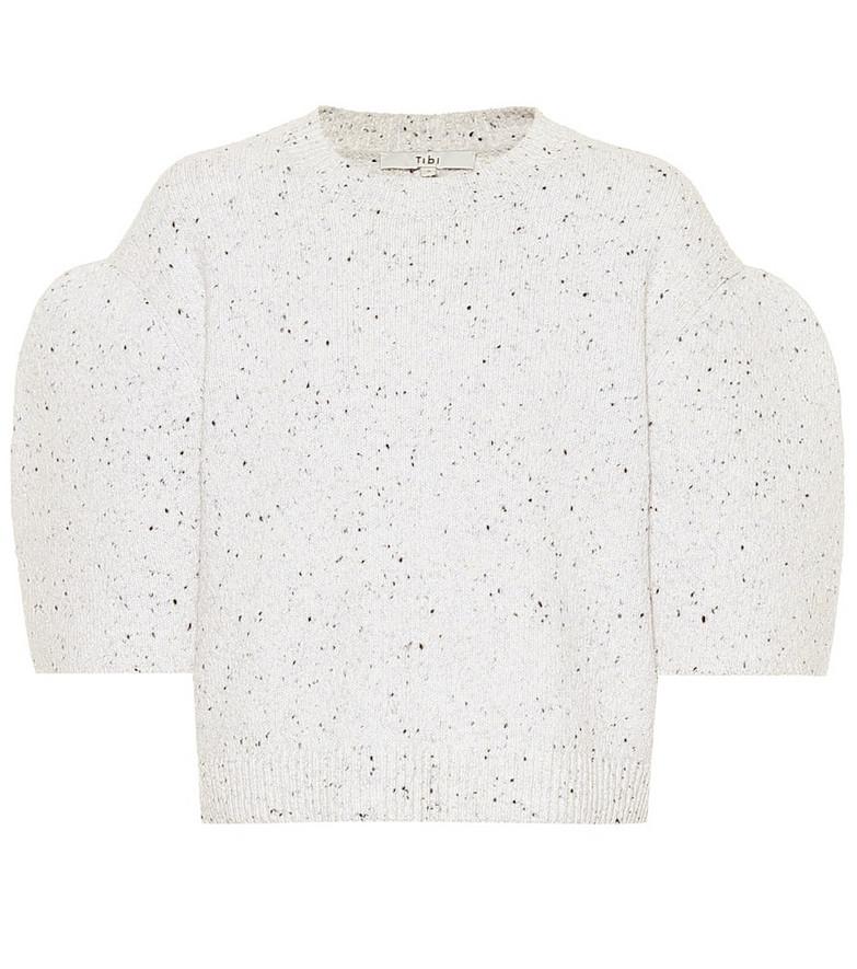 Tibi Tweedy wool-blend top in white