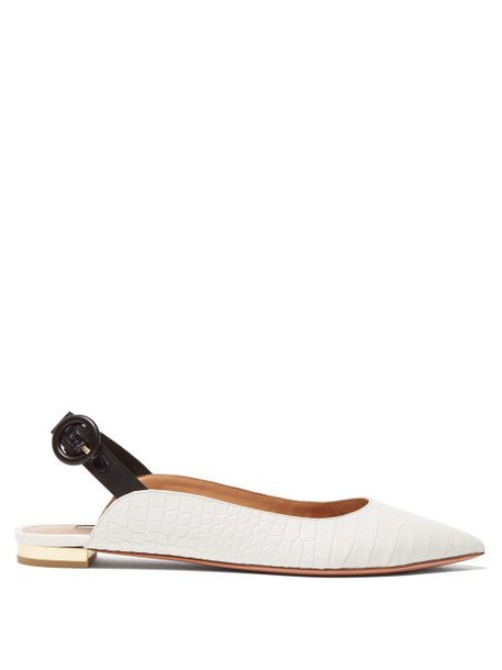 Aquazzura - Yale Crocodile Effect Leather Slingback Flats - Womens - White