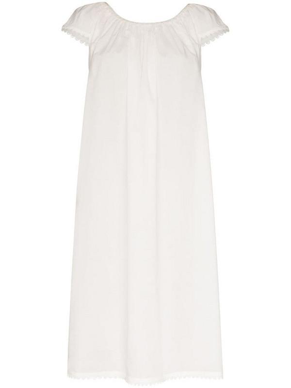 Pour Les Femmes Lawn scalloped-trimmed cotton dress in white