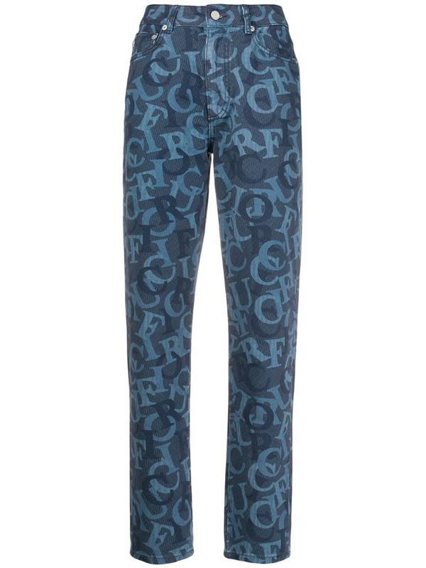 Fiorucci Tara logo jacquard jeans in blue