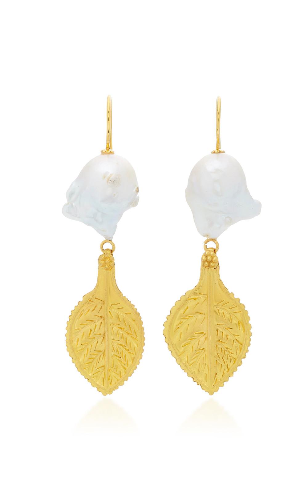 Ranjana Khan Gold Leaf and Pearl Earrings in multi