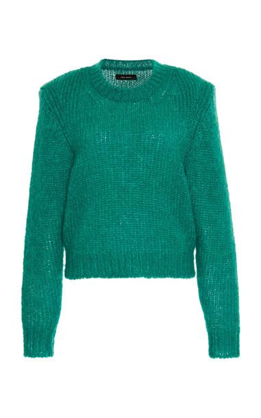 Isabel Marant Idona Mohair-Blend Crewneck Sweater in green