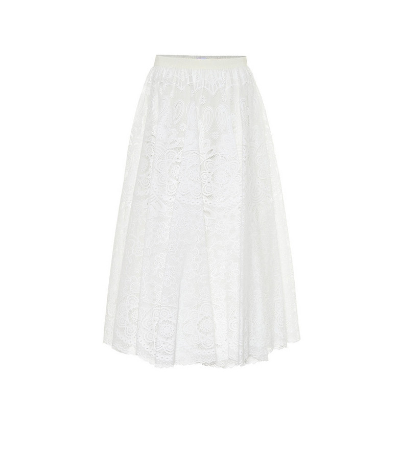 REDValentino Floral lace maxi skirt in white