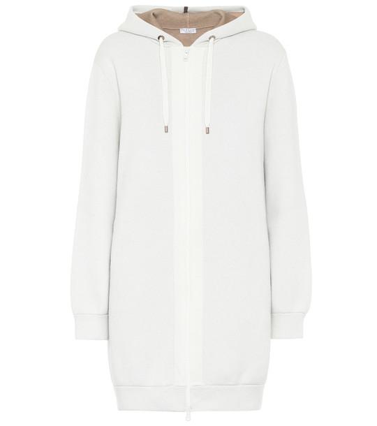 Brunello Cucinelli Longline cashmere hoodie in white