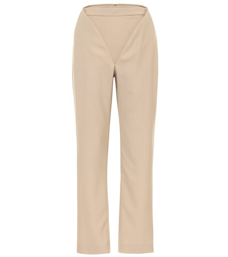 Y/PROJECT Cutout high-rise straight wool pants in beige