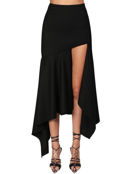 MUGLER Asymmetric Wool Twill Skirt in black