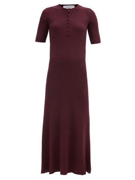 Gabriela Hearst - Johanna Ribbed Cashmere-blend Longline Dress - Womens - Burgundy
