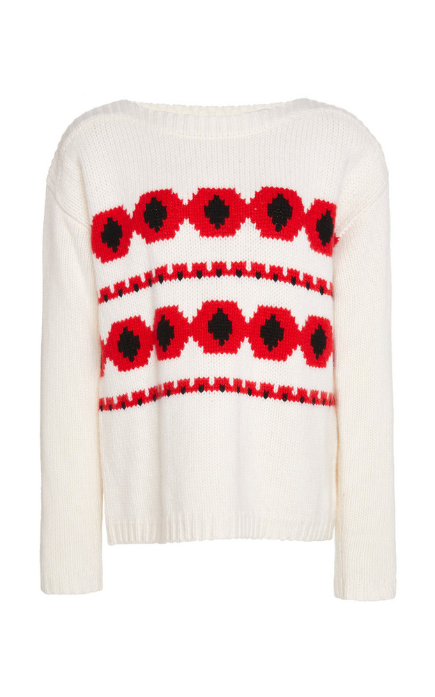 Bogner Mahina Intarsia Cashmere Sweater Size: XS in white