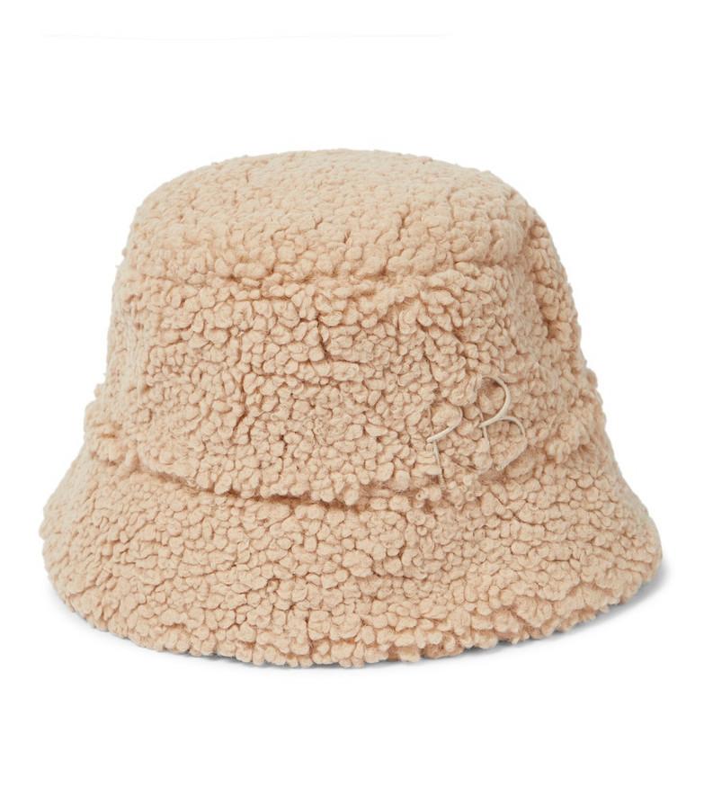 RUSLAN BAGINSKIY Faux shearling bucket hat in beige