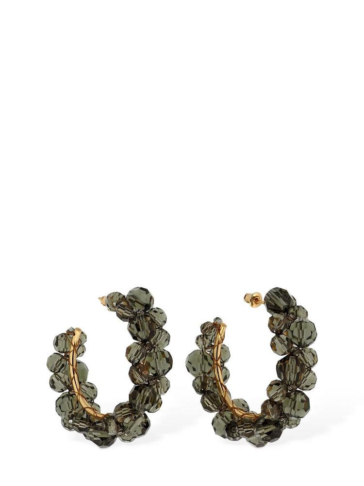 SIMONE ROCHA Medium Wiggle Crystal Hoop Earrings in grey