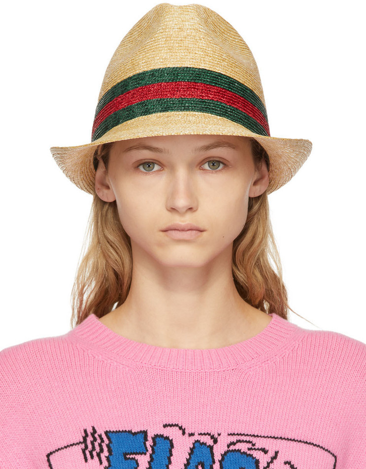 Gucci Beige Straw Woven Hat in green