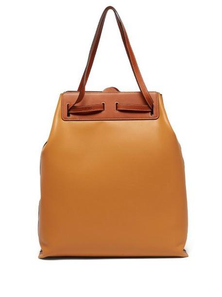 Loewe - Lazo Contrast Panel Leather Tote Bag - Womens - Tan