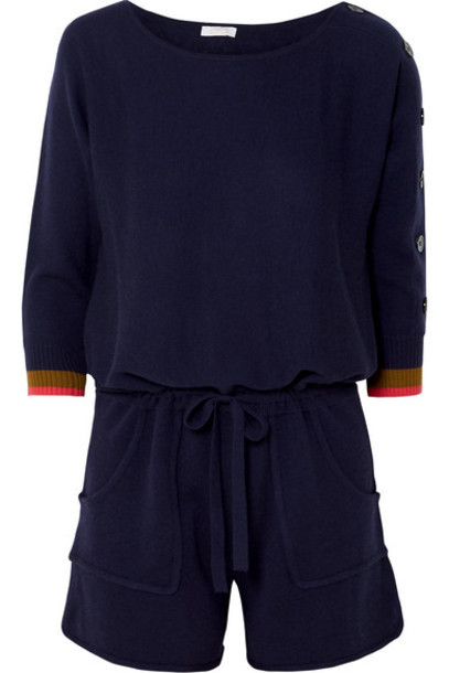 Eres - Visuel Cashmere And Wool-blend Playsuit - Navy