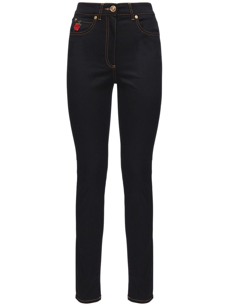 VERSACE Roses Embroidered Cotton Denim Jeans in black / multi
