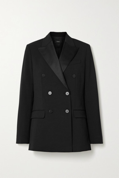 Theory - Satin-trimmed Cady Blazer - Black