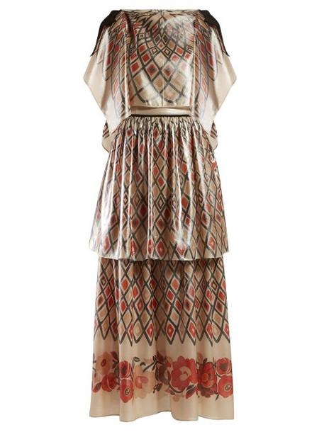 Fendi - Caped Diamond Print Metallic Crepe Gown - Womens - Beige Multi