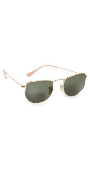 Ray-Ban Elon Rectangular Metal Sunglasses in gold