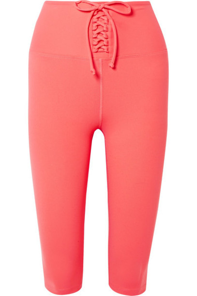 Year of Ours - Cameron Cropped Lace-up Stretch Leggings - Coral