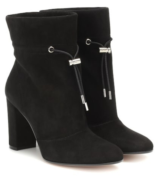Gianvito Rossi Maeve 85 suede ankle boots in black