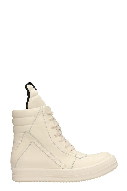 Rick Owens Geobasket White Leather Sneakers