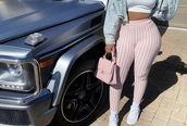 pants,baby pink,white,high waisted