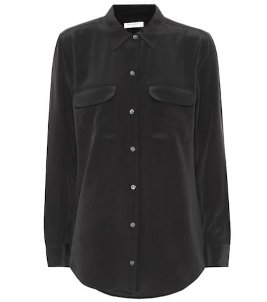 Equipment Slim Signature silk shirt in black