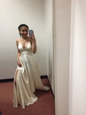 dress,off-white,spaghetti strap,silk dress,vanilla,white dress,white dress with one leg slit,low cut dress,spaghetti straps dress