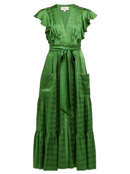 Temperley London - Gaia Ruffled Satin Jacquard Dress - Womens - Green