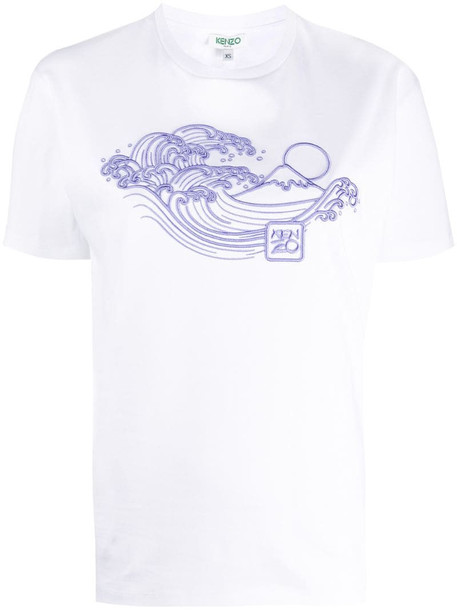 Kenzo wave embroidered T-shirt in white