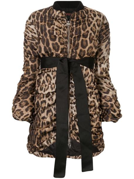 Giambattista Valli leopard draped bomber jacket in brown