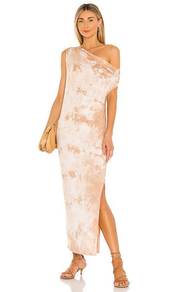 Enza Costa Exposed Shoulder Midi Dress in Tan in sand