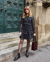 dress,floral dress,layered,mini dress,black boots,ankle boots,shoulder bag,tights