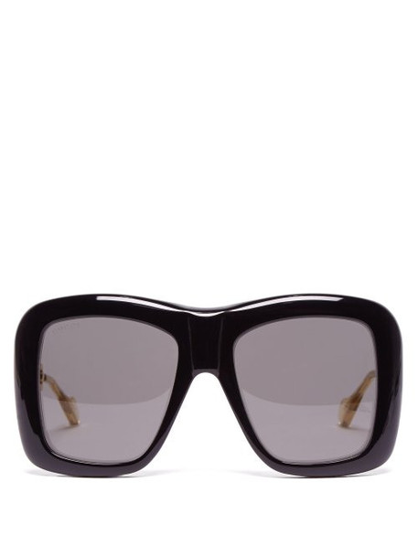 Gucci - Oversized Square Frame Acetate Sunglasses - Womens - Black