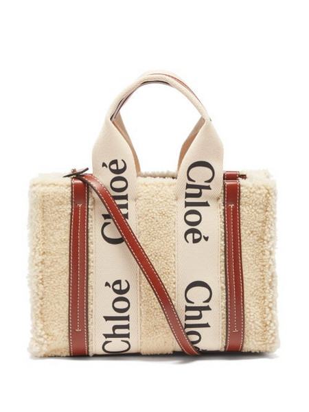 Chloé Chloé - Woody Small Shearling And Leather Cross-body Bag - Womens - Cream