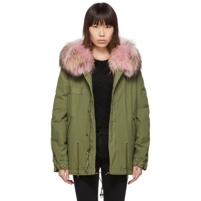 Mr and Mrs Italy Mr & Mrs Italy Green Mini Fur Army Parka