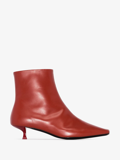 by FAR Laura 50 square-toe leather ankle boots in red
