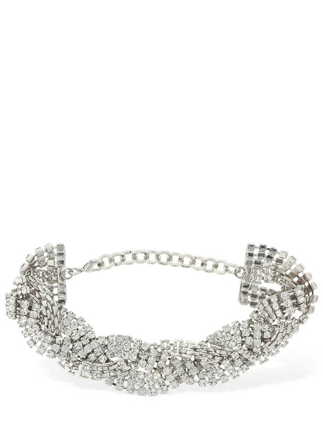 ALESSANDRA RICH Braided Crystal Choker in silver