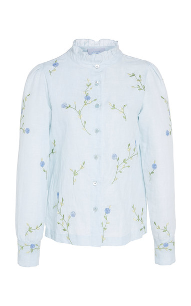 Luisa Beccaria Floral Embroidered Cotton Shirt in blue