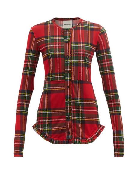 Molly Goddard - Soha Ruffled-hem Tartan-print Mesh Cardigan - Womens - Red Multi