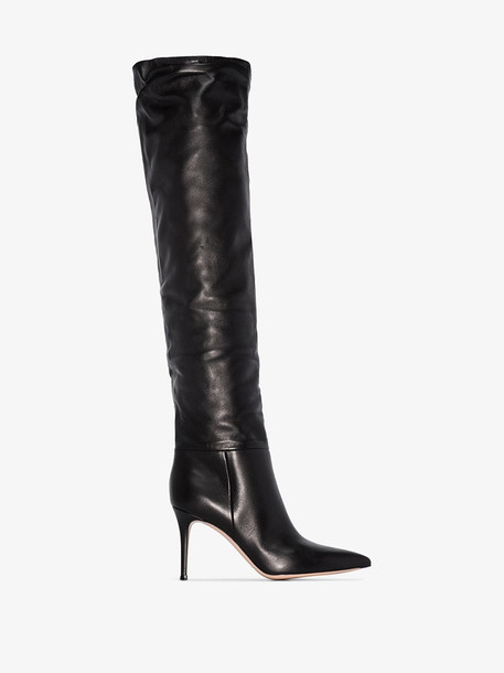 Gianvito Rossi black 85 over the knee leather boots