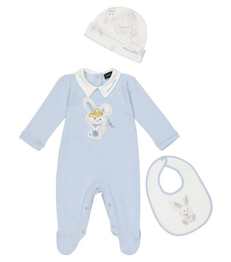 Monnalisa Baby cotton onesie, hat and bib set in blue