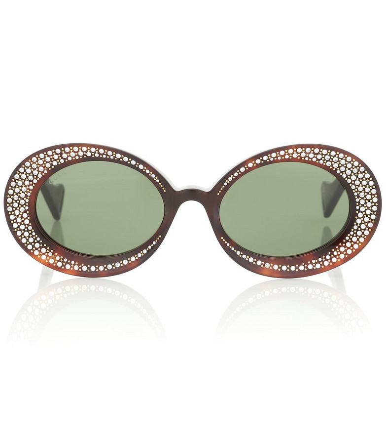 Gucci Crystal-embellished oval sunglasses in green