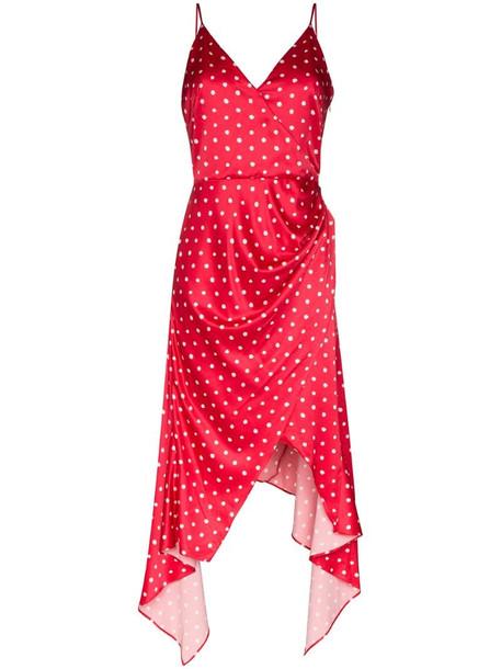 Haney Olivia asymmetric polka dot slip dress in red