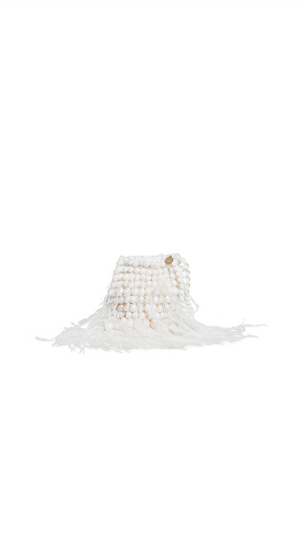 Cult Gaia Dory Feathered Pouch in ivory