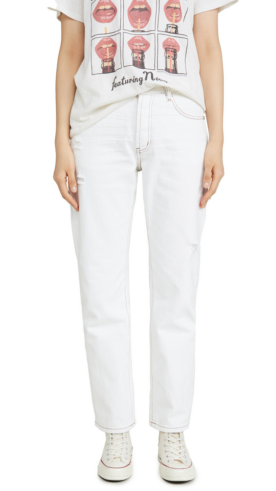 One Teaspoon Truckers Mid-Rise Straight Leg Jeans in white