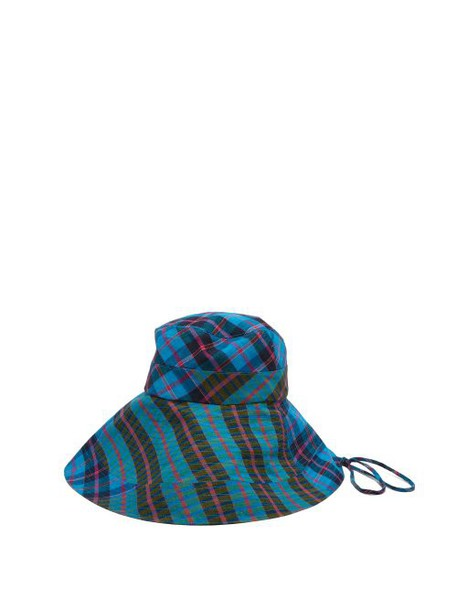 Lola Hats - Georges Checked Cotton Bucket Hat - Womens - Blue
