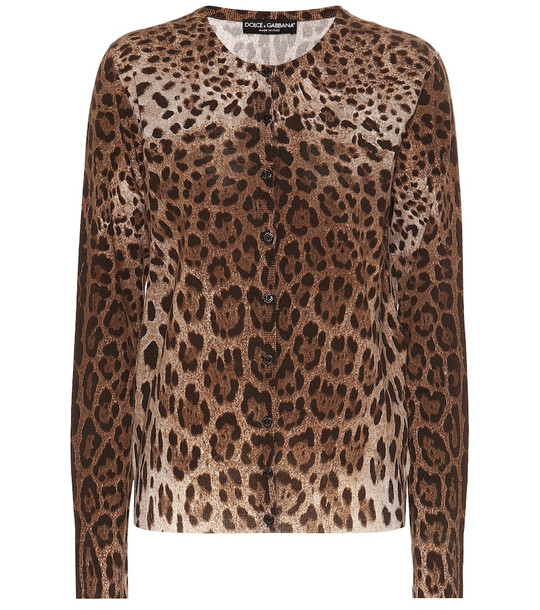 Dolce & Gabbana Leopard-printed wool cardigan in brown