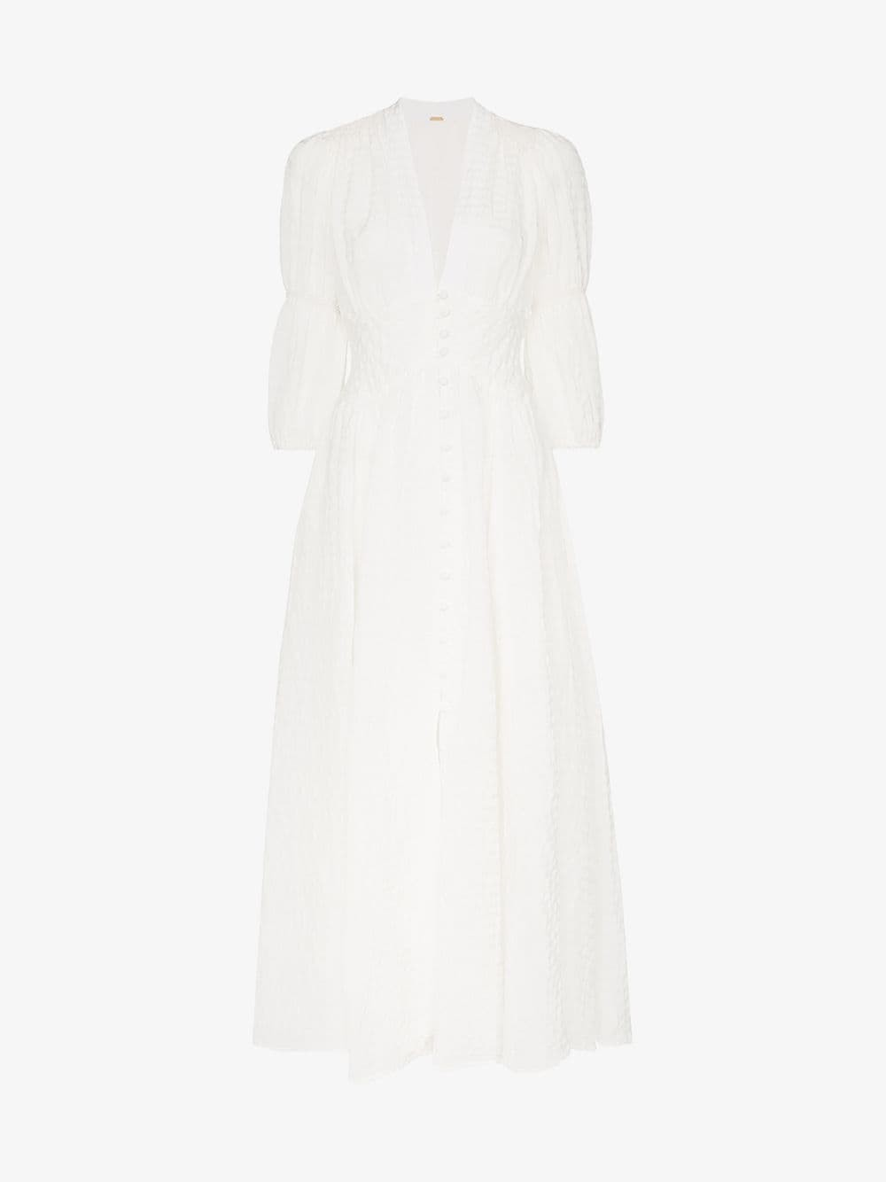 Cult Gaia Willow button-down linen blend dress in white