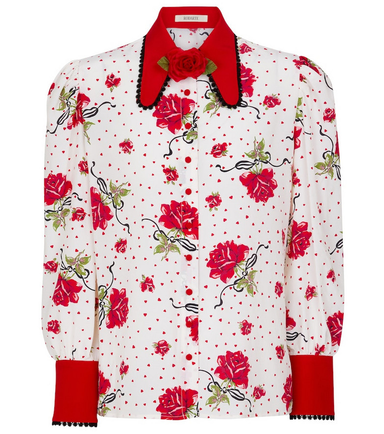 Rodarte Floral silk crêpe blouse in white